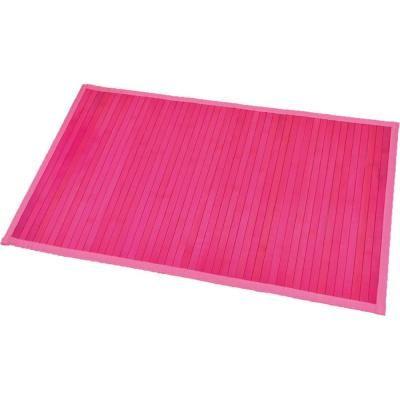 EVIDECO Pink 31.5 in. L x 20 in. W Bamboo Rug Bath Mat Anti Slippery