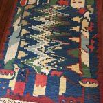 A colorful vintage Turkish Kilim, Anatolian rug, Handwoven, HandMade, Ottoman kilim, Modern Motif