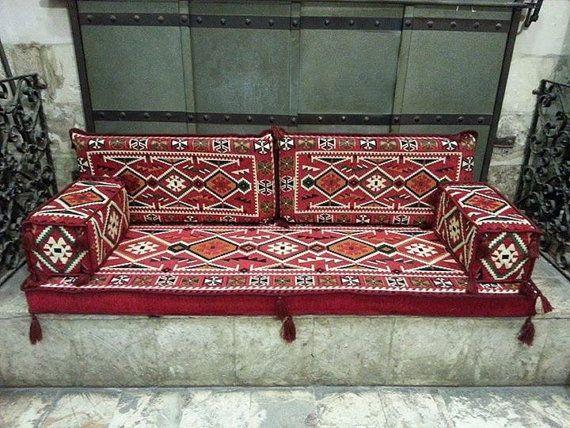 ARABIC Oriental Seating COVER Set . Phrygia . Majlis – Rug Fabric – floor seating – jalsa -so…