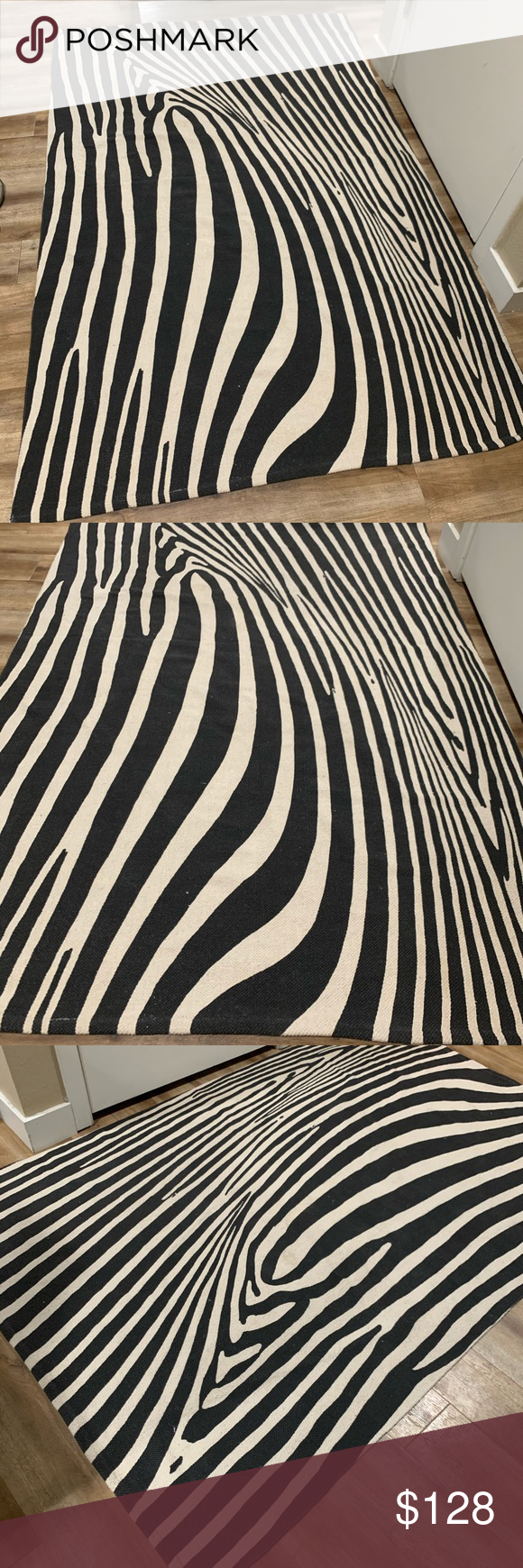 Anthropologie Rug black cream natural cotton zebra Beautiful rug from Anthropolo…