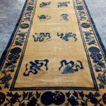 Antique Chinese Dragon Rug, Chinese Rugs, Small Dragon Rug, Antique Handmade Rugs, 5.6 x 2.8 Feet, 171 x 86 cm