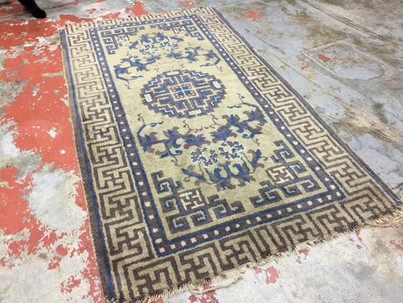 Antique Chinese Rug 2×3.5 Ningxia Rug 19th C Oriental Rug