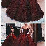 Ball Gown Wine Red Sequin Floor-Length Burgundy Quinceanera Dress Sweet 16 Dress...