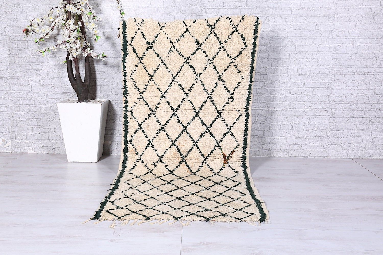 Beni ourain rug, Vintage Moroccan rug, 3ft x 6.8ft, Woven Berber rug, Azilal rug, Colorful rug, Antique rug, Rag rug
