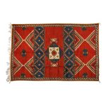 Blue and Coral Red Tribal Berber Moroccan Wool Large Rug