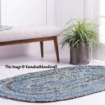 Braided meditation mat, Oval shape rag rug, Handmade cotton rag rugs, Decorative oval rug, Natural Floor Carpet Rag Rugs, Braided Rug 2x3'