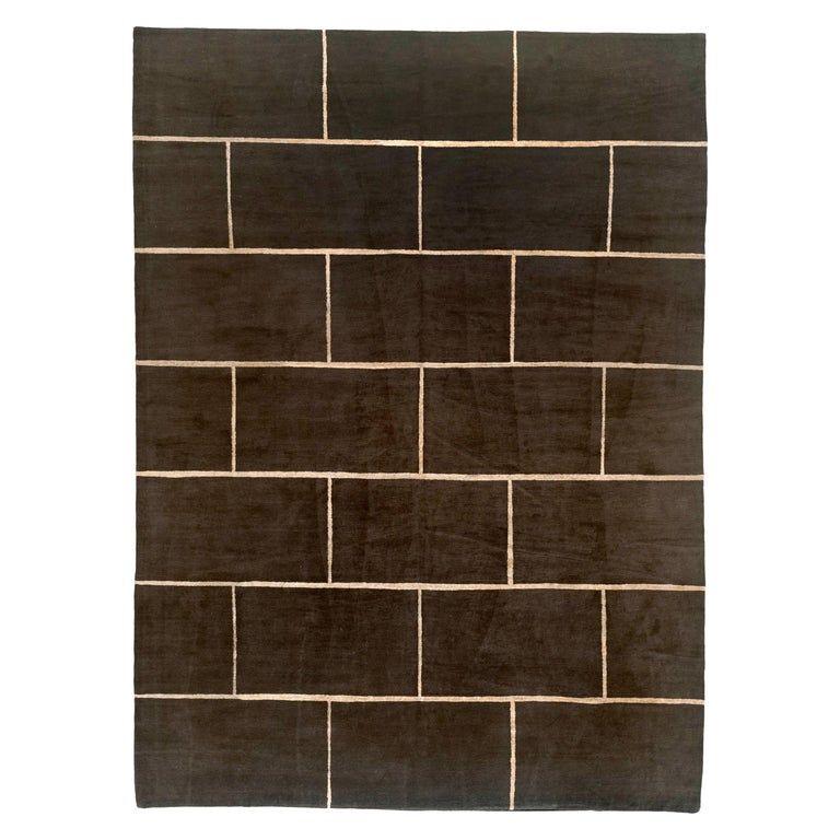 Chocolate Brick Wool and Silk Rug