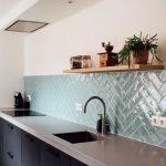 City half Tile seagreen zeegroen turquoise visgraat tegel 7,5 x 30 cm