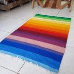 Colorful Rainbow Bohemian Handwoven Rug Runner ~ Farmhouse Rug Runner ~ Kilim Natural Wool Throw Rug ~ Handmade Area Rug - Throw striped rug
