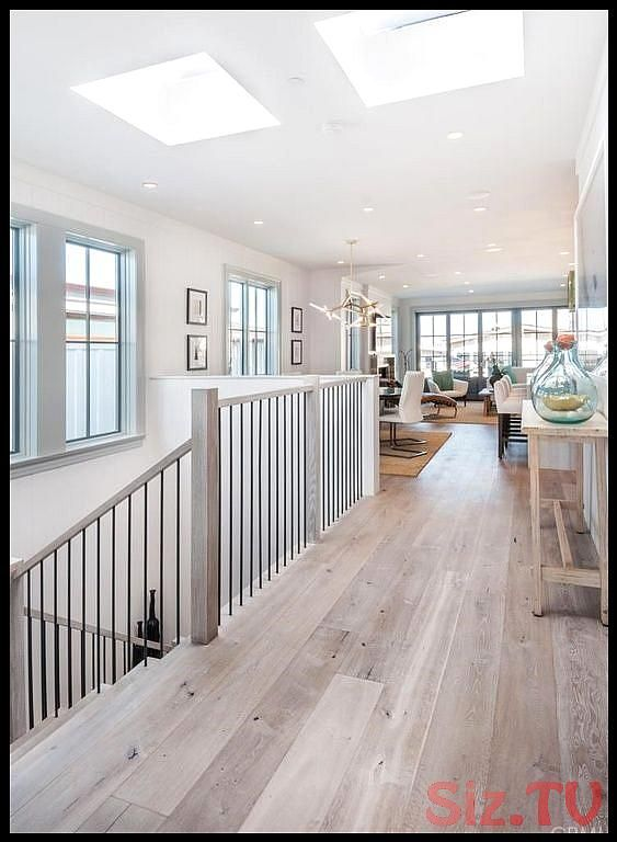 Cottage Hallway with Paint1 Walnut Shell White 5 in  Engineered Hardwood Wide Pl…