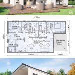 Fertighaus Bungalow modern mit Satteldach Architektur & 4 Zimmer Grundriss recht...
