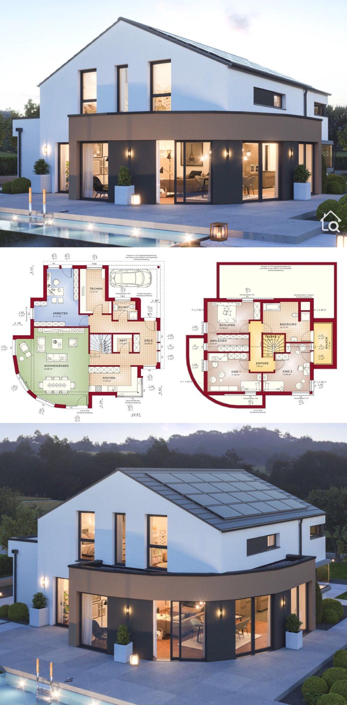 Fertighaus modern mit Satteldach Architektur, Erker & Balkon, 5 Zimmer Grundriss…