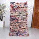 Floor rug, Berber rug, Boucherouite rug, 3.2ft x 7.3ft , Boucherouite, rag rug, Moroccan rug, Handmade rug