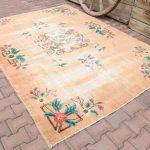 GORGEOUS, VINTAGE CHINESE Rug, Handmade rug, Floral rug, Chinese Wool Rug, Chinese Rugs, Antique Chinese rug, Orange rug, Chinese Tibati Rug