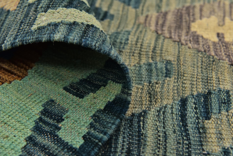 Green 6′ 7 x 9′ 10 Kilim Modern Rug , #SPONSORED, #Green, #Kilim, #Rug, #Modern