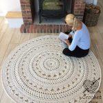 HÄKELN Teppich, Deckchen Teppich, runder Teppich, häkeln, runder Teppich, stricken Teppich, Babys Teppich, von Hand gestrickt Teppich, ECRU häkeln Teppich oder Wahl der Farbe