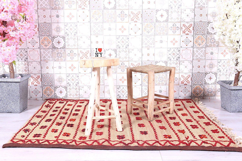 Hassira, Berber mat, Berber rug, Straw fiber rug, 4ft x 4.9ft