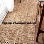 Indian Braided Floor Rug Handmade Jute Rug, Natural Jute Rug Runner, Indian Handmade Handwoven Ribbed Solid Rugs Runner, 2x6 Floor Rug Rag