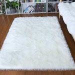 Junovo Ultra Soft Thick Fluffy Faux Sheepskin Area Rug, White Fur Rug for Living...