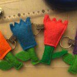 Keychain TIFA Bags flowers and mushrooms. Handmade in Portugal, Industrial carpe...