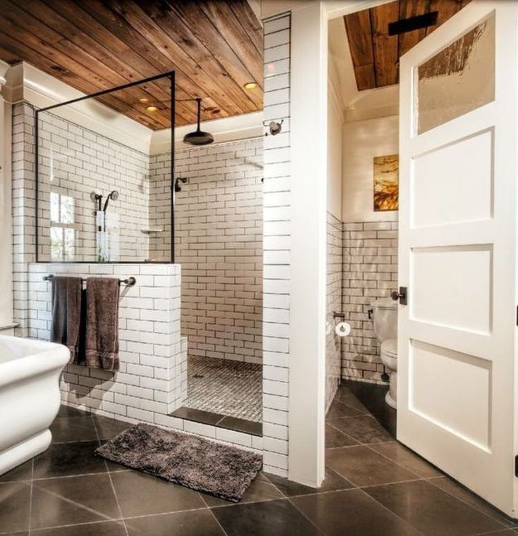 """Leah 🏡 DIY Home Design on Instagram: """"This was my photo inspiration for our master bathroom. I loved the great mix of tile, wood and metal. It is modern, yet warm.   However,…"""""""
