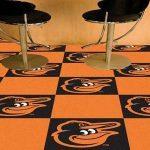 """MLB - Baltimore Orioles Cartoon Bird 18""""x18"""" Carpet Tiles"""
