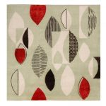 Mid-Century Modern Inspired Mint Green and Red Wool and Craft Silk Rug