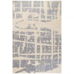 """Modern Contemporary Area Rug in Blue Gray Handmade of Silk and Wool, """"Note"""""""