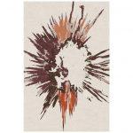 "Modern Contemporary Area Rug in Ivory Orange, Handmade of Silk and Wool ""Burst"""