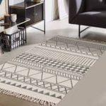 Moroccan Cotton Area Rug 2' x 4.3', KIMODE Woven Fringe Throw Rugs Print Tassel ...
