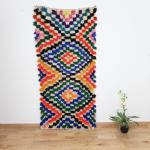 Moroccan boucherouite Rug - Berber carpet, moroccan Rug, vintage Rug,Bohemian Rug ,boucharouite rug 2.07 x 0,93 Meters