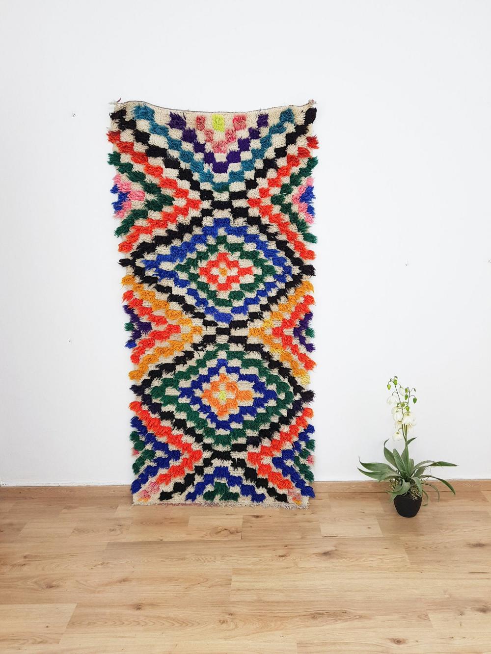 Moroccan boucherouite Rug – Berber carpet, moroccan Rug, vintage Rug,Bohemian Rug ,boucharouite rug 2.07 x 0,93 Meters