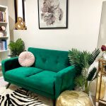 My home study and home library using an forest green or emerald green sofa with ...
