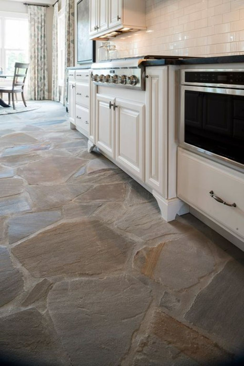 Natural Stone Flooring Adorning Delightful Kitchens Textures