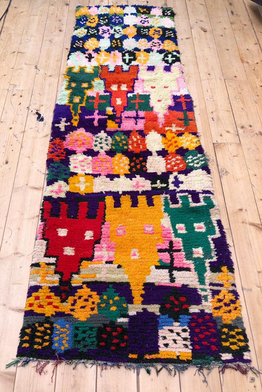 Old Moroccan Berber carpet / vintage Azilal 2,17×0.75m