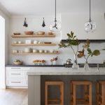 Open kitchen shelves // industrial pendant lights // hardwood floors // floating...