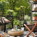 Outdoor Teppich mit Rautenmuster in schwarz und weiß - Lappljung Ruta von Ikea,...