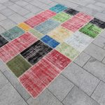 "Patchwork Rug,7'5""x5'2""feet, 230x160 cm, Rustic Rug,Tribal Rug,Vintage Rug,Colorful Rug,Decorative Rug,Patchwork Carpet, Handmade Carpet"