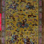 Qom Hunting Rug - Silk on Silk, 676 KPSI, 4'x3' (120x78 cm)