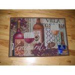 Red and White Wine Kitchen Throw Rug Villa Toscana Vineyard Merlot