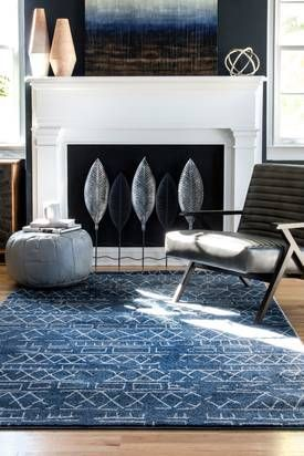 Rugs USA Blue Bosphorus Faded Banded Tribal rug – Contemporary Rectangle 8′ x 10′