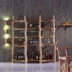 Rustic Vintage Style Oak Bookshelf Floor Standing Live Edge Solid Wood 4-Tier Wine Rack & Display Shelf