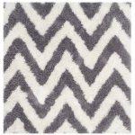 """Safavieh Handmade Chevron Shag Karien Rug (8'9"""" x 12' - Ivory/Grey)"""