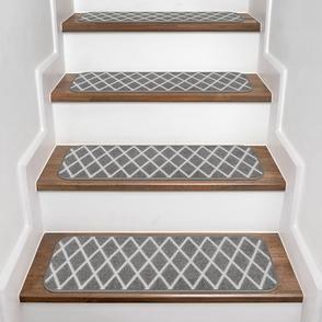 Set of 15 Skid-Resistant Carpet Stair Treads Diamond Trellis Lattice – Misty Gray & Linen White