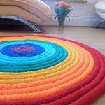 Stylish designer handmade circular rug   Crocheted Stuffed Rag - Very unique Int...