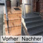 Treppenrenovierung mit Steinteppich ohne Abriss. Die Beschichtung kann sogar üb...