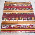 Tribal kilim rug, Vintage Turkish carpet, Anatolian embroidery rug, Bohemian interior design, Traditional pattern, Colorful home decor