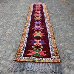 Turkish Rug, Herki Rug, Handmade Rug, Burgundy Rug, 2.8x13.1 ft, Vintage Rug, Colorful Rug, Anatolia