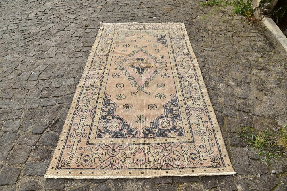 Turkish Rug, Oushak Rug, Turkish Carpet, Handmade Rug, Rusitc Rug, Antique Rug, Faded Rug, Wool 4.2×7.9 feet Designer Rug 1313