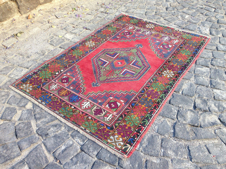 "Turkish Rug, Vintage Rug, Area Kilim Rug, Handmade Wool Rug, Tribal Rug 3'6""x 5'4"" = 113 x 168 cm"